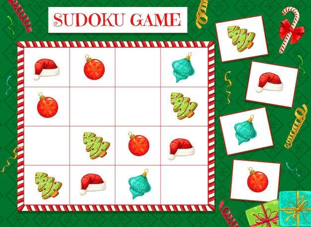 Child sudoku maze with christmas decorations. children puzzle game, kids educational activity with logical task. santas hat, christmas tree ornaments bauble and gingerbread cookie cartoon vector