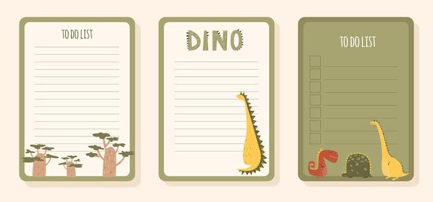 Детский список дел с динозавром в мультяшном стиле