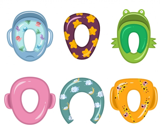 Child toilet seats of different shapes