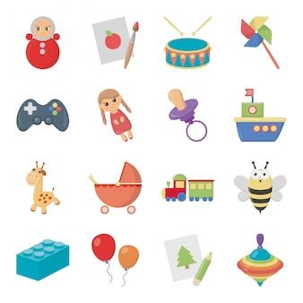 Child of toy isolated cartoon set icon