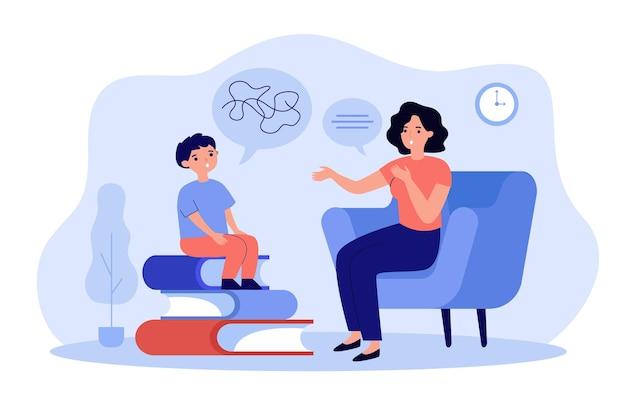 Child training basic language skills with speech therapist isolated flat illustration