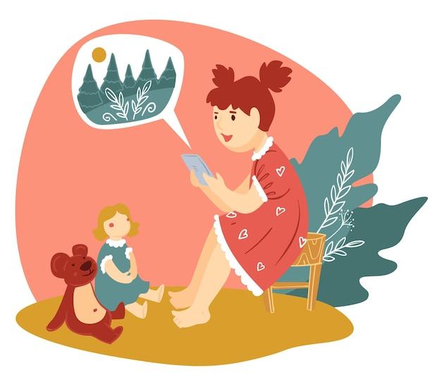Ребенок с помощью смартфона читает сказки игрушкам. девушка разговаривает с плюшевым медведем и милой куклой. детский сад и досуг малышей. женский персонаж дошкольного возраста, играющий в доме, вектор в плоском стиле