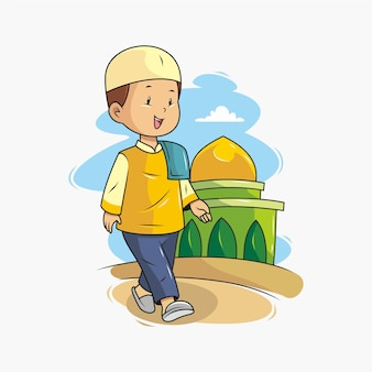 A child walking to the mosque