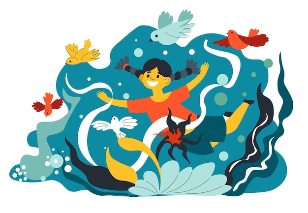 Child watching flora and fauna in aquarium with seaweed. girl looking at birds and flowers. wildlife and relaxation outdoors, entertainment and fun time for small kiddo. vector in flat style