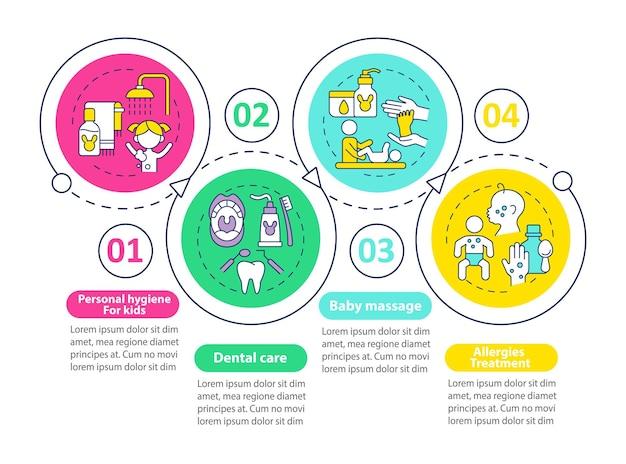 아동 건강 관리 벡터 infographic 템플릿입니다. 신체 건강 프레젠테이션 개요 디자인 요소입니다. 4단계로 데이터 시각화. 타임라인 정보 차트를 처리합니다. 라인 아이콘이 있는 워크플로 레이아웃