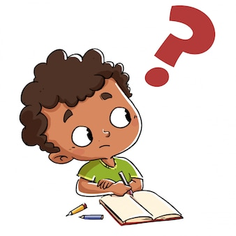 Child who has a question with a question mark