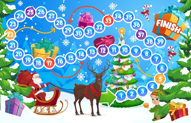 크리스마스 트리와 산타가 있는 어린이 겨울 방학 보드 게임. 주사위 던지기, 어린이 교육용 보드 게임으로 활동을 지불하는 어린이. 숲, 순록, 엘프 만화 벡터에서 산타를 타고 썰매