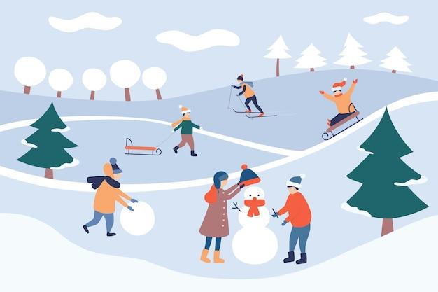 Детский зимний отдых. зимний пейзаж. с праздником и рождеством. дети лепят снеговика