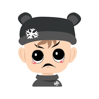 Child with angry emotions grumpy face furious eyes in bear hat with snowflake head of cute child wit...