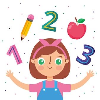 数字の鉛筆とリンゴの漫画を持つ子供。ベクトルイラスト