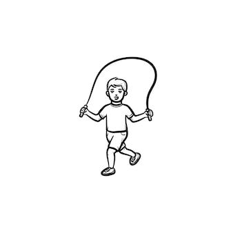 밧줄 손으로 그린 개요 낙서 아이콘을 건너 뛰는 아이. 어린이는 흰색 배경에 격리된 인쇄, 웹, 모바일 및 인포그래픽을 위한 밧줄 벡터 스케치 그림을 건너뛰고 뛰어 넘습니다.