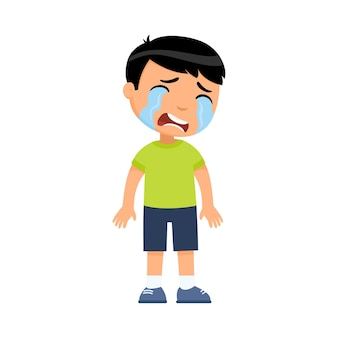 Child with tears on face standing alone
