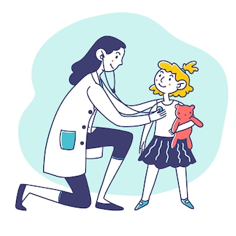Child with toy visiting doctor