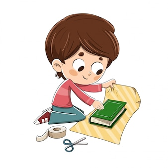 Child wrapping a gift book