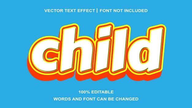 어린이 노란색 흰색 스타일 편집 가능한 텍스트 효과