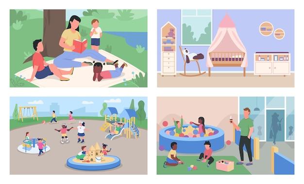 Уход за детьми и детский сад плоский набор.