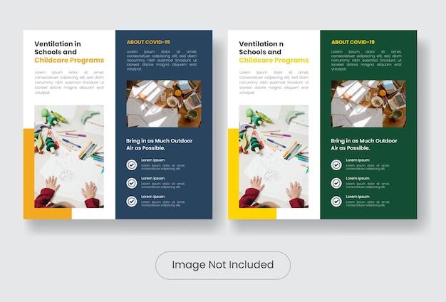 Childcare covid 19 information instagram post banner template set