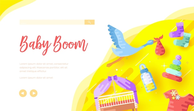 Childcare products internet shop landing page template. stork carrying bag with text space.