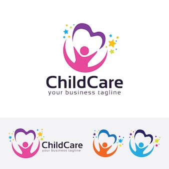 Childcare vector logo template