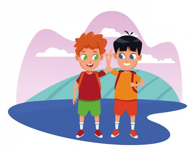 어린 시절 사랑스러운 학교 학생 만화