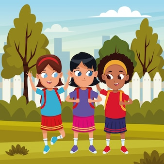 Childhood adorable students girls cartoon