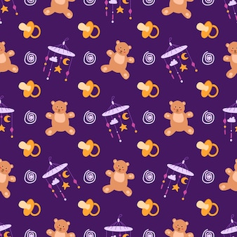 Childhood or baby shower theme seamless pattern - nipple, teddy bear, toy, rattle