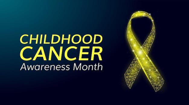 어린 시절 암 인식의 달 개념입니다. 빛나는 낮은 폴리 노란색 리본이 있는 배너 템플릿. 벡터 일러스트 레이 션.
