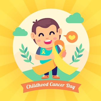 Детский день борьбы с раком иллюстрация с ребенком и лентой