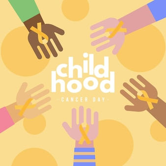 Childhood cancer day illustration with hands holding ribbons