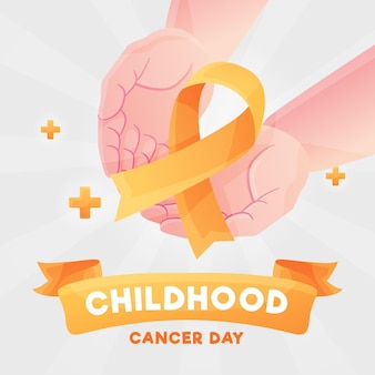 Childhood cancer day illustration with palms holding ribbon