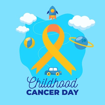 Childhood cancer day illustration with ribbon and rocket