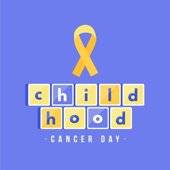 Childhood cancer day illustration with ribbon