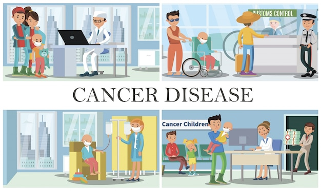 Childhood cancer disease composition with people visiting doctors with their kids for oncology medical treatment father with son in wheelchair in airport