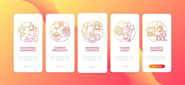分離された概念を持つ子供の発達の赤いオンボーディングモバイルアプリページ画面
