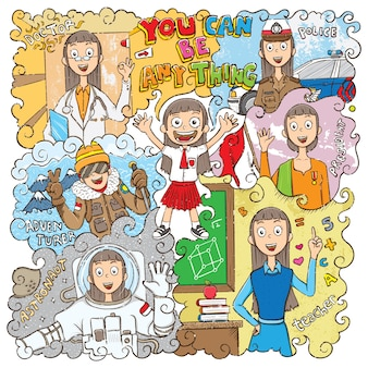 Childhood dream jobs illustration