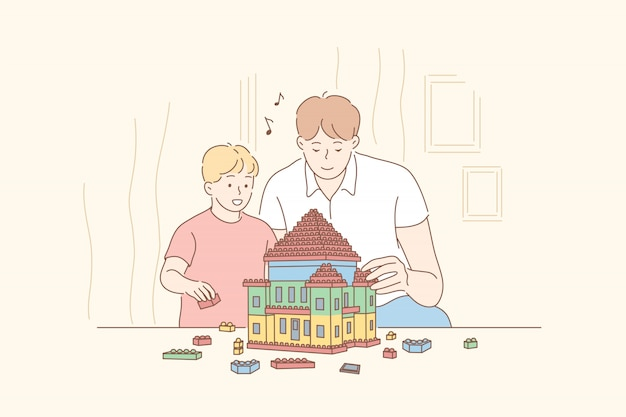 Childhood, fatherhood, game, lego concept