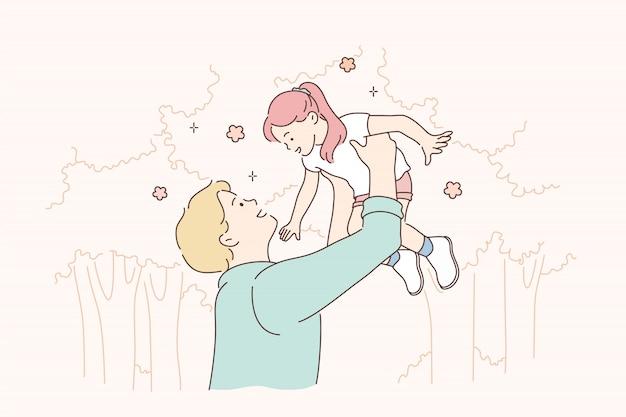 Childhood, fatherhood, support, game concept.