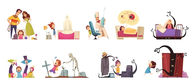 Childhood fears set with ghosts and doctors symbols isolated illustration