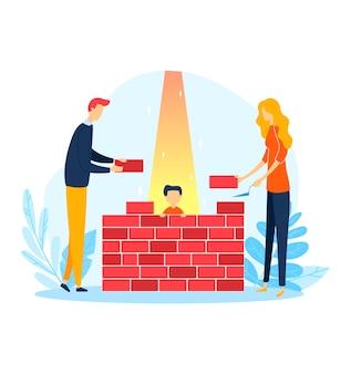 돌 벽, 가족 문제 그림에서 어린 시절의 라이프 스타일. 보호 부모, 남자 여자 캐릭터 빌드 건설