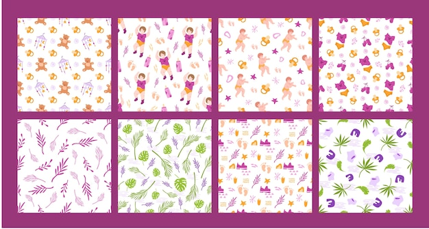 Childhood and motherhood seamless pattern bundle - baby or newborn, nipple, teddy bear