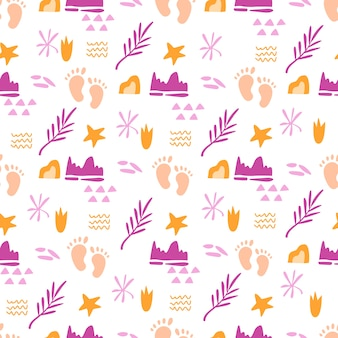Childhood theme seamless pattern with cute baby foot prints and abstract elements, palm leaves and geometric figures
