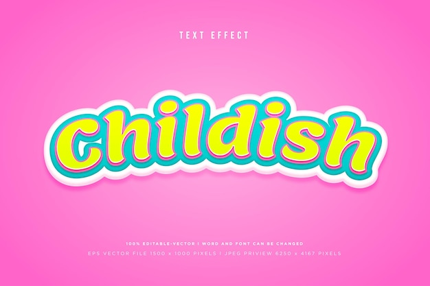 Childish 3d text effect on pink background