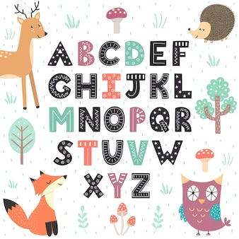 Childish alphabet with cute forest animals.