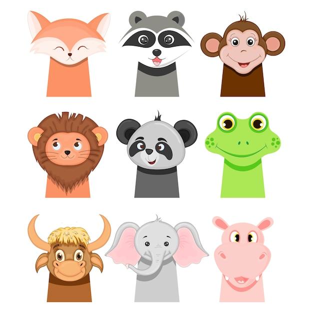 Childish animals: fox, monkey, raccoon, lion, panda, bull, elephant, hippopotamus and frog