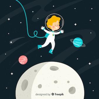 Детский персонаж космонавта с плоским дизайном