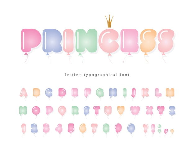 Childish balloon cute font