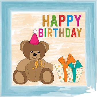 테 디 베어와 함께 유치 한 생일 축 하 카드