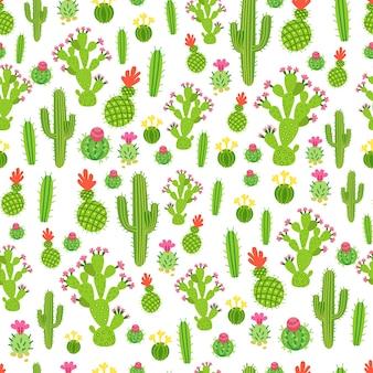 A childish bright cartoon cactus vector pattern