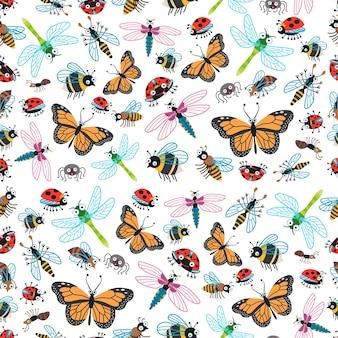 유치한 밝은 만화 곤충 패턴입니다. 벡터