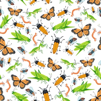 Childish bright cartoon insects pattern. a vector